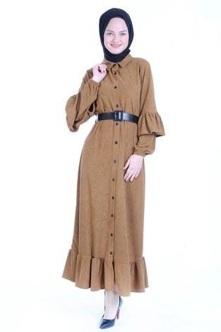 Fırfırlı Kadife Elbise 5916-16 vizon - Thumbnail