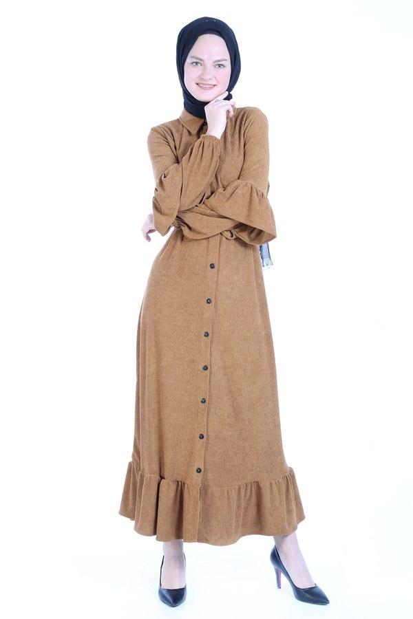 Fırfırlı Kadife Elbise 5916-16 vizon
