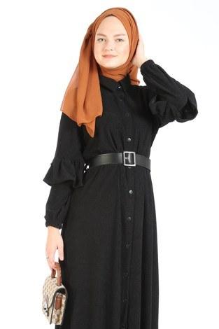 - Fırfırlı Kadife Elbise 5916-01 siyah (1)