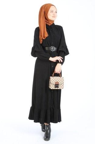 - Fırfırlı Kadife Elbise 5916-01 siyah