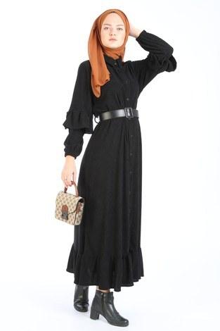 Fırfırlı Kadife Elbise 5916-01 - Thumbnail