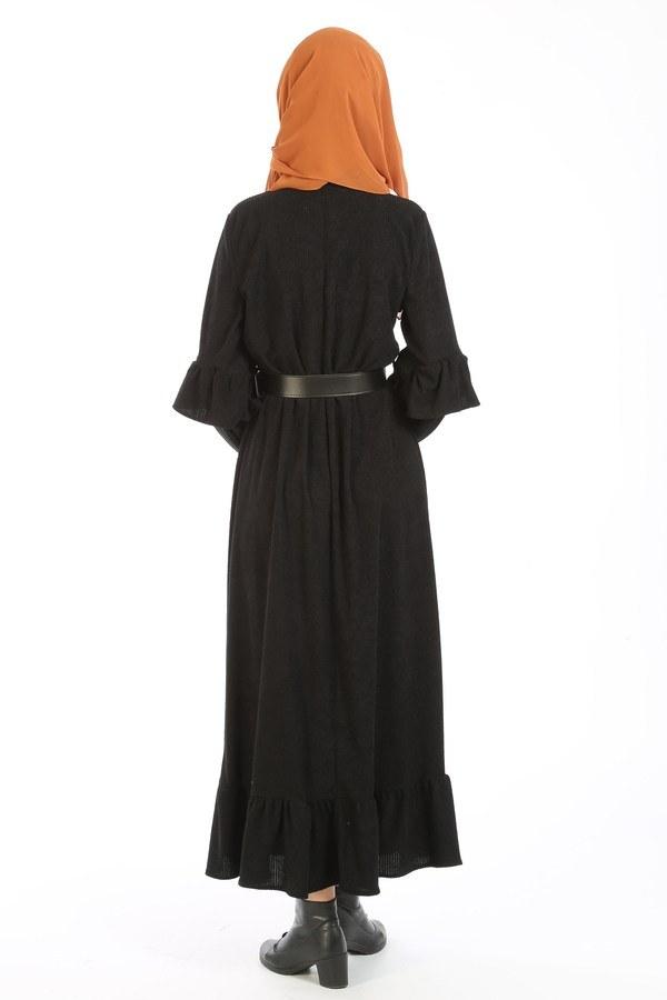 Fırfırlı Kadife Elbise 5916-01