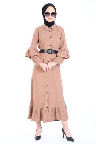 Fırfırlı Kadife Elbise 5916-11 bej - Thumbnail
