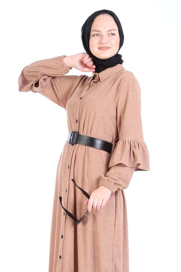 Fırfırlı Kadife Elbise 5916-11 bej