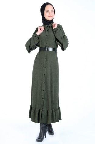 - Fırfırlı Kadife Elbise 5916-04 haki