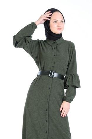 - Fırfırlı Kadife Elbise 5916-04 haki (1)