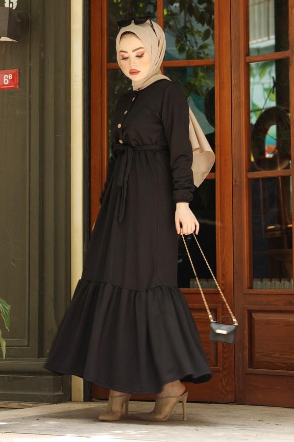 Fırfırlı Kuşaklı Elbise 17690-1 Siyah