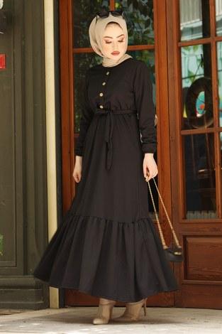 Fırfırlı Kuşaklı Elbise 17690-1 Siyah - Thumbnail