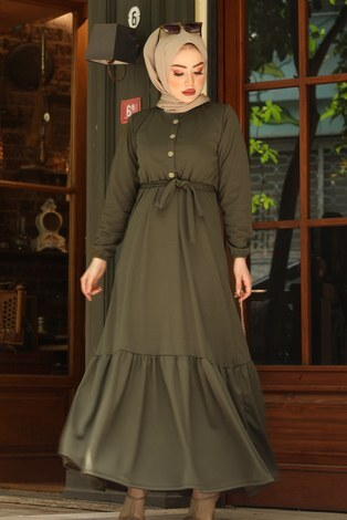 Fırfırlı Kuşaklı Elbise 17690-3 Haki - Thumbnail
