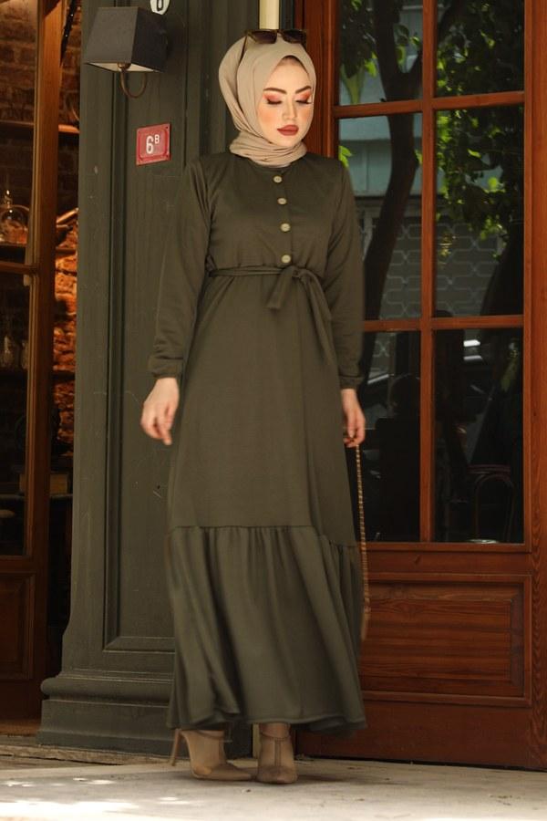 Fırfırlı Kuşaklı Elbise 17690-3 Haki
