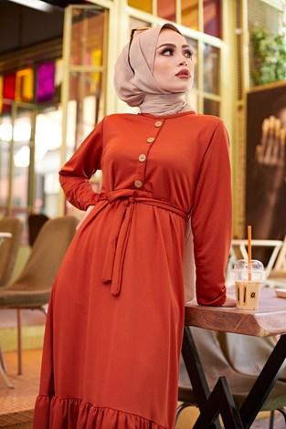 - Fırfırlı Kuşaklı Elbise 17690-4 Kiremit (1)