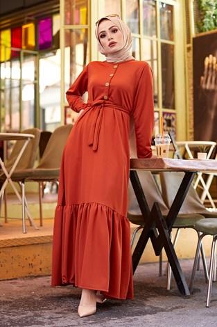 - Fırfırlı Kuşaklı Elbise 17690-4 Kiremit