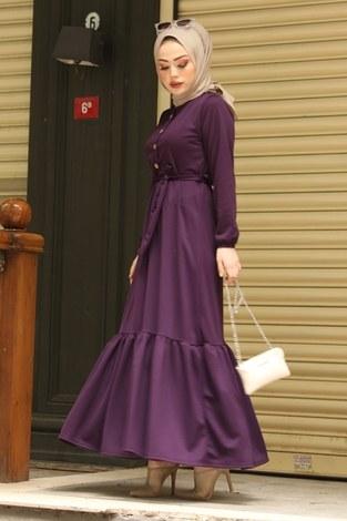 Fırfırlı Kuşaklı Elbise 17690-5 Mor - Thumbnail