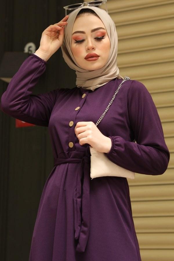 Fırfırlı Kuşaklı Elbise 17690-5 Mor