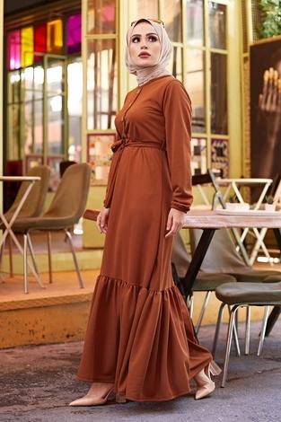 Fırfırlı Kuşaklı Elbise 17690-15 Taba - Thumbnail