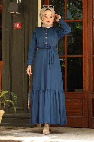 Fırfırlı Kuşaklı Elbise 17690-6 indigo - Thumbnail