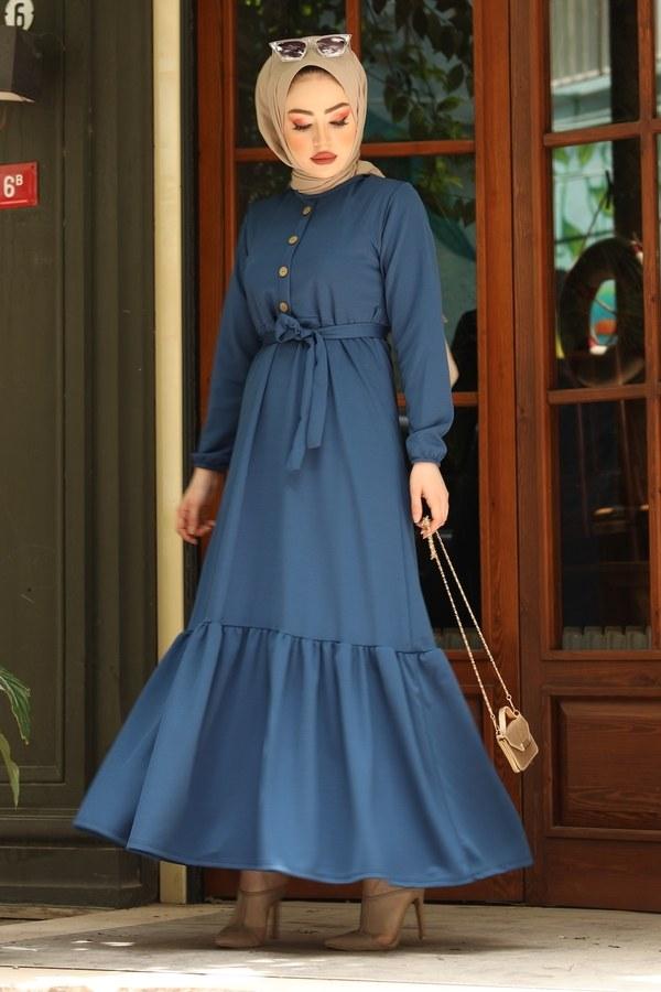 Fırfırlı Kuşaklı Elbise 17690-6 indigo
