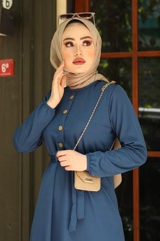 - Fırfırlı Kuşaklı Elbise 17690-6 indigo (1)