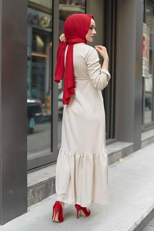 Fırfırlı Kuşaklı Elbise 17690-8 Ekru