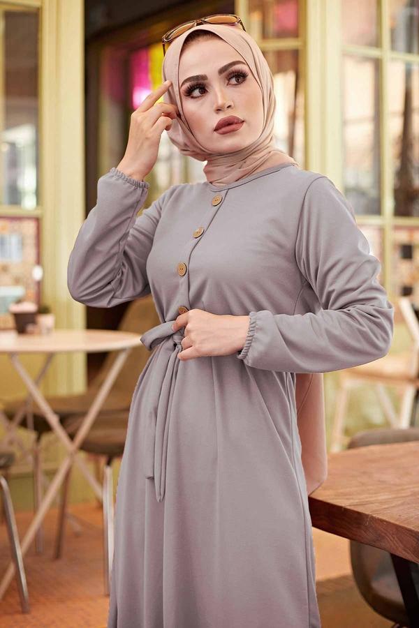 Fırfırlı Kuşaklı Elbise 220SH17690 Gri