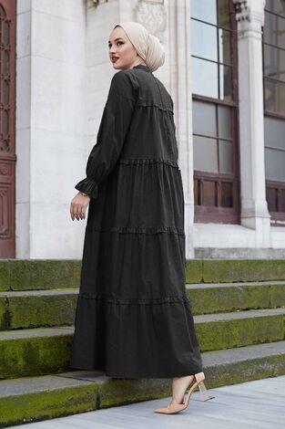 Fırfırlı Salaş Elbise 100MD10253 Siyah - Thumbnail