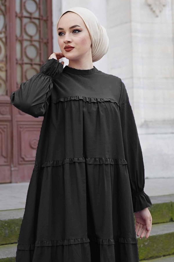 Fırfırlı Salaş Elbise 100MD10253 Siyah