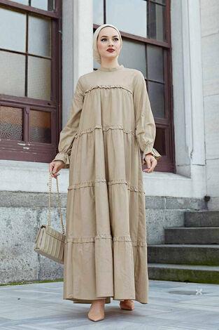 Fırfırlı Salaş Elbise 530GK12020 Bej - Thumbnail