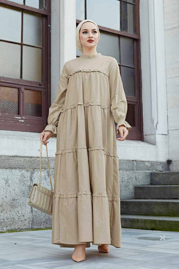 Fırfırlı Salaş Elbise 530GK12020 Bej