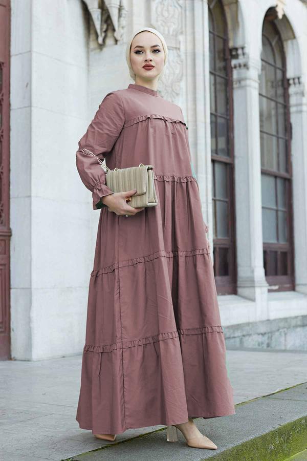 Fırfırlı Salaş Elbise 530GK12020 Gülkurusu