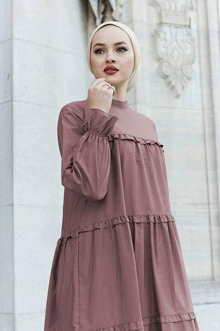 Fırfırlı Salaş Elbise 530GK12020 Gülkurusu - Thumbnail