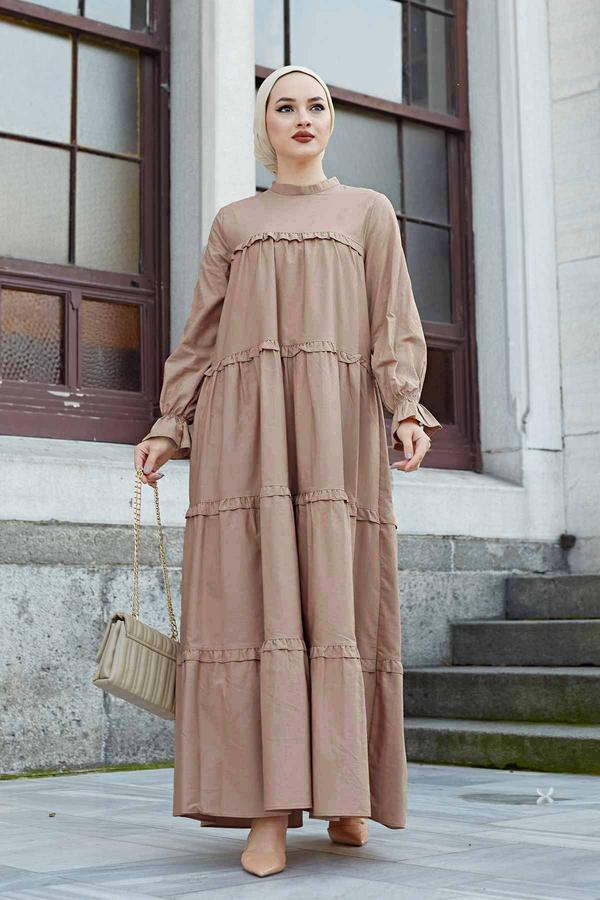 Fırfırlı Salaş Elbise 530GK12020 Karamel