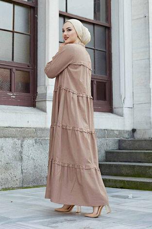 Fırfırlı Salaş Elbise 530GK12020 Karamel - Thumbnail