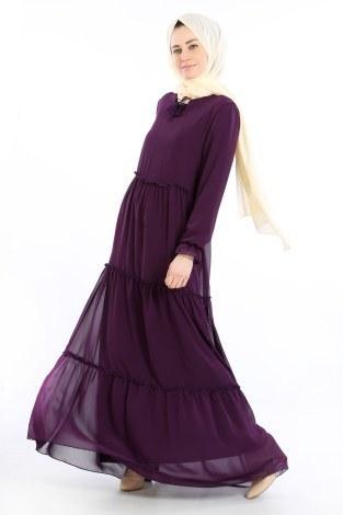 - Fırfırlı Şifon Elbise 5241-07