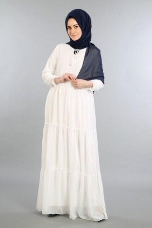 - Fırfırlı Şifon Elbise 5241-03