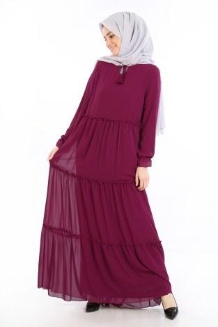 - Fırfırlı Şifon Elbise 5241-05