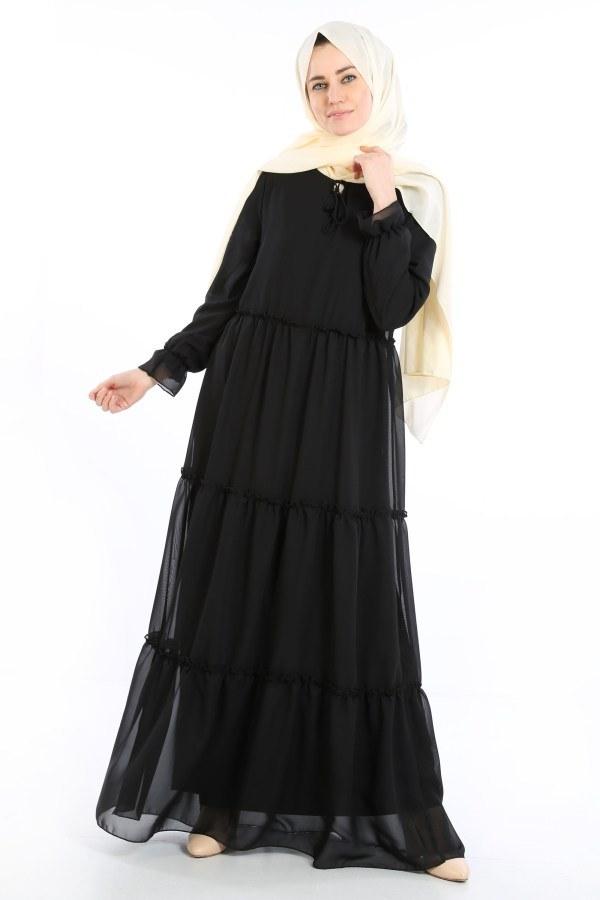 Fırfırlı Şifon Elbise 5241-01