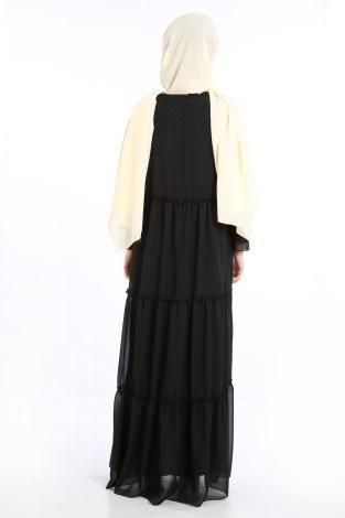 Fırfırlı Şifon Elbise 5241-01 - Thumbnail