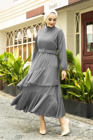 Fırfırlı Tesettür Abiye Elbise Gri - Thumbnail