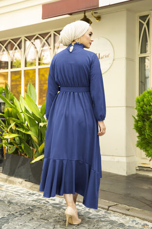 Fırfırlı Tesettür Abiye Elbise İndigo - Thumbnail