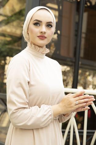 Fırfırlı Tesettür Abiye Elbise Krem - Thumbnail