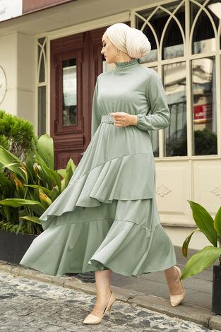 Fırfırlı Tesettür Abiye Elbise Mint - Thumbnail