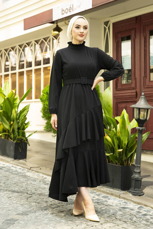 Fırfırlı Tesettür Abiye Elbise Siyah