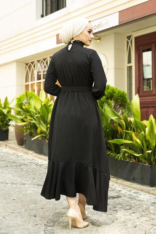 Fırfırlı Tesettür Abiye Elbise Siyah - Thumbnail
