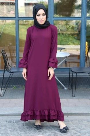 - Fırfırlı ve Volenli Elbise 8922-2