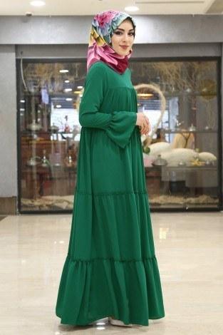 - Fırfırlı Yazlık Elbise 3085-5 Zümrüt (1)