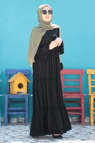 - Krep Fırfırlı Elbise 3085-2 Siyah (1)