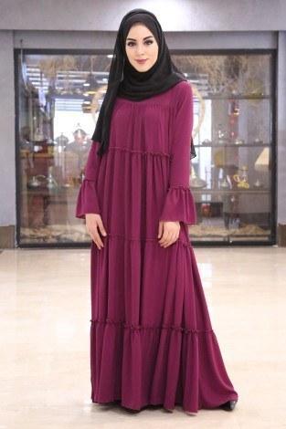 - Fırfırlı Yazlık Elbise 3085-4 Fuşya (1)