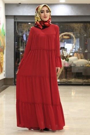 - Krep Fırfırlı Elbise 3085-6 Kırmızı