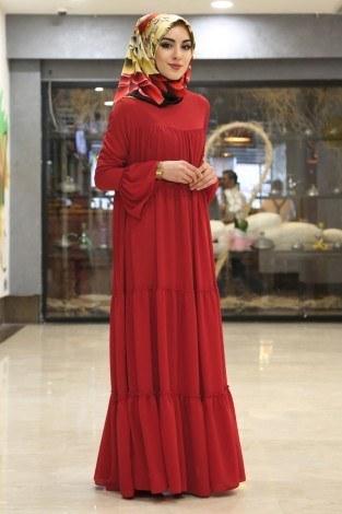 - Krep Fırfırlı Elbise 3085-6 Kırmızı (1)