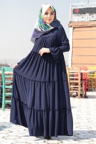 - Fırfırlı Yazlık Elbise 3085-3 Lacivert (1)
